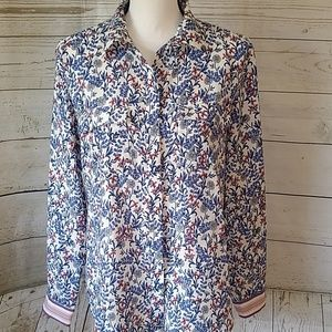 LOFT floral print button down blouse